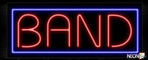 Image of 11358 Band in red with blue border Neon Sign_13x32 Black Backing