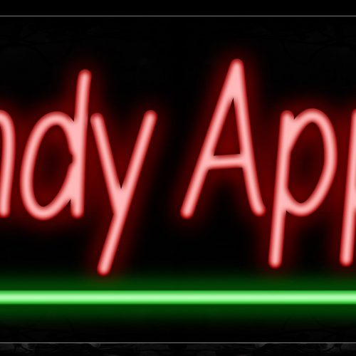 Image of 11367 Candy Apples in red with green line Neon Sign_13x32 Black Backing