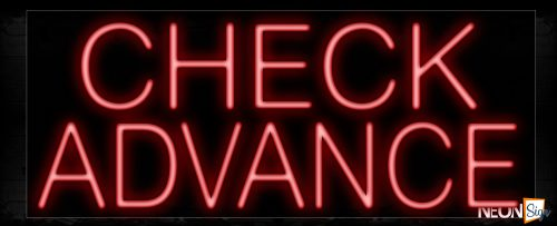Image of 11371 Check Advance in red Neon Sign_13x32 Black Backing