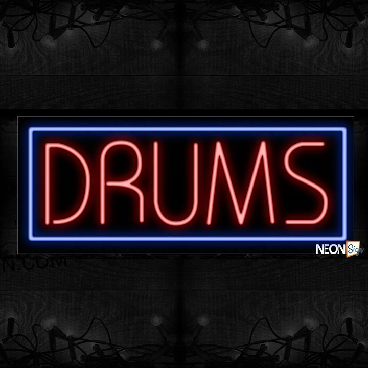 Image of 11383 Drums with blue border Neon Sign_13x32 Black Backing