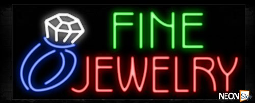 Image of 11400 Fine Jewelry with ring logo Neon Sign_13x32 Black Backing