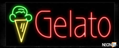 Image of 11411 Gelato with ice cream logo Neon Sign_13x32 Black Backing