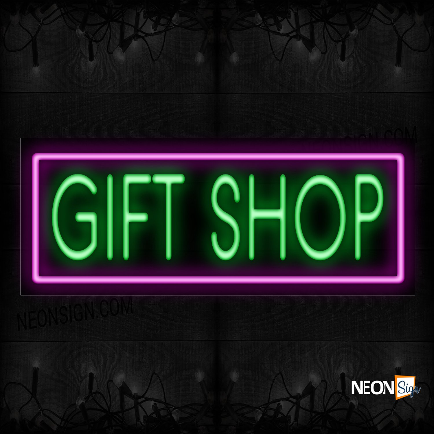 Image of 11412 Gift Shop With Purple Border Neon Sign_13x32 Black Backing