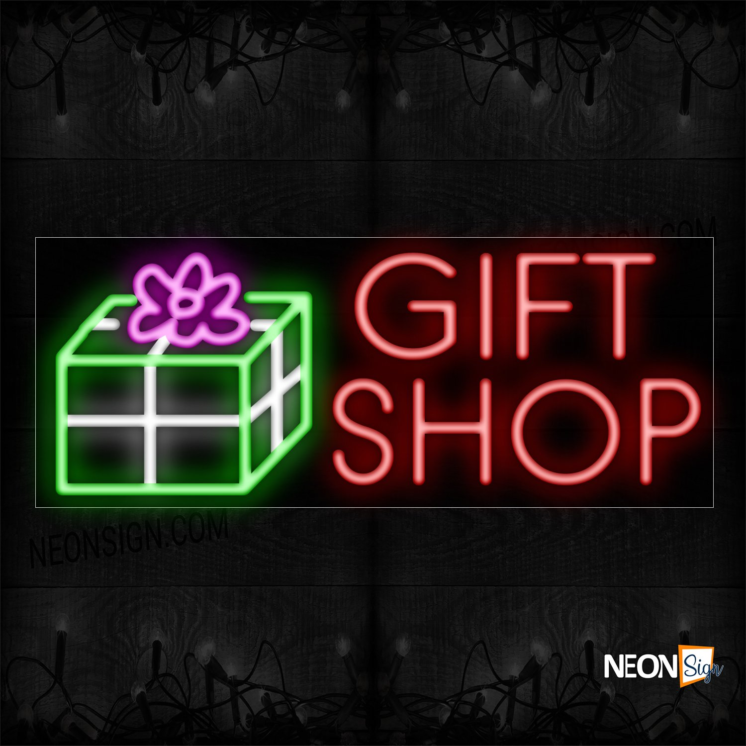 Image of 11413 Gift Shop With Logo Neon Sign_13x32 Black Backing