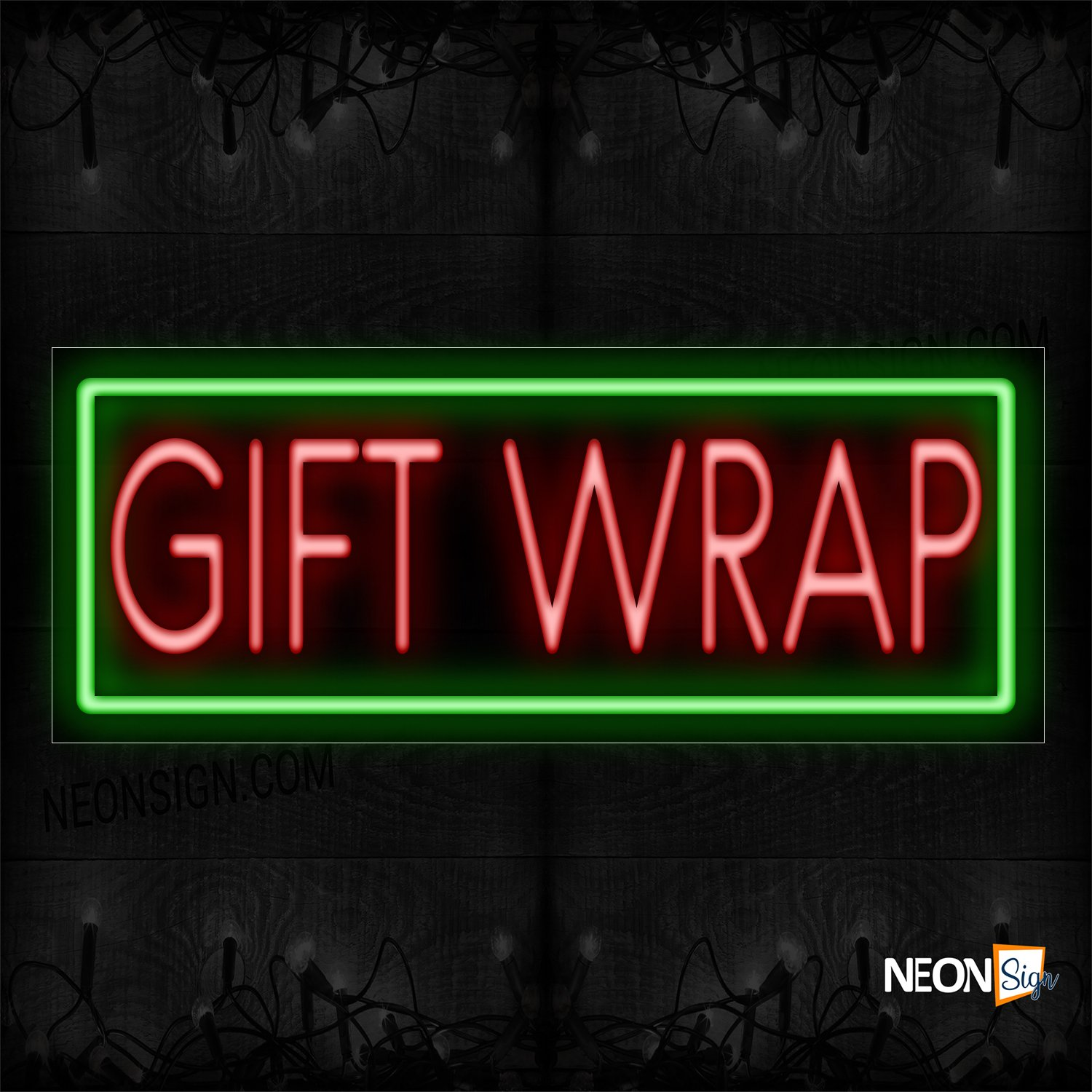 Image of 11414 Gift Wrap With Border Neon Sign_13x32 Black Backing