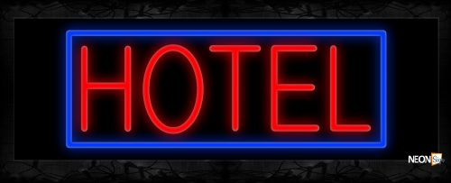 Image of 11425 Hotel in red with blue border Neon Sign 13x32 Black Backing