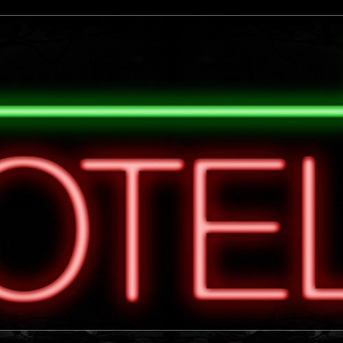 Image of 11426 Hotel in red with green arrow Neon Sign_13x32 Black Backing
