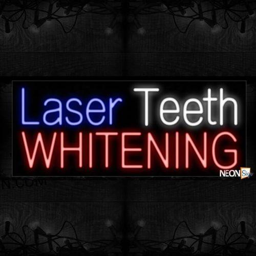 Image of 11433 laser teeth whitening border led bulb sign_13x32 Black Backing