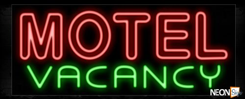 Image of 11443 Double stroke Motel Vacancy Neon Sign_13x32 Black Backing