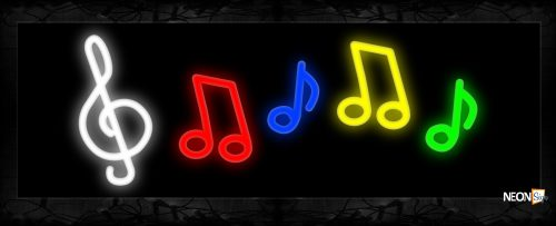 Image of 11446 Musical notes logo Neon Sign 13x32 Black Backing