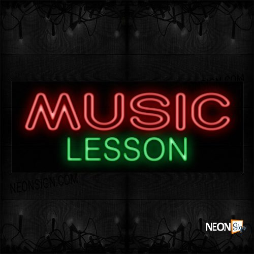 Image of 11447 Double Stroke Music Lessons Neon Sign_13x32 Black Backing
