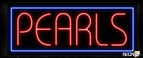 Image of 11458 Pearls in red with blue border Neon Sign_13x32 Black Backing