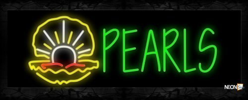 Image of 11459 Pearls with logo Neon Sign 13x32 Black Backing
