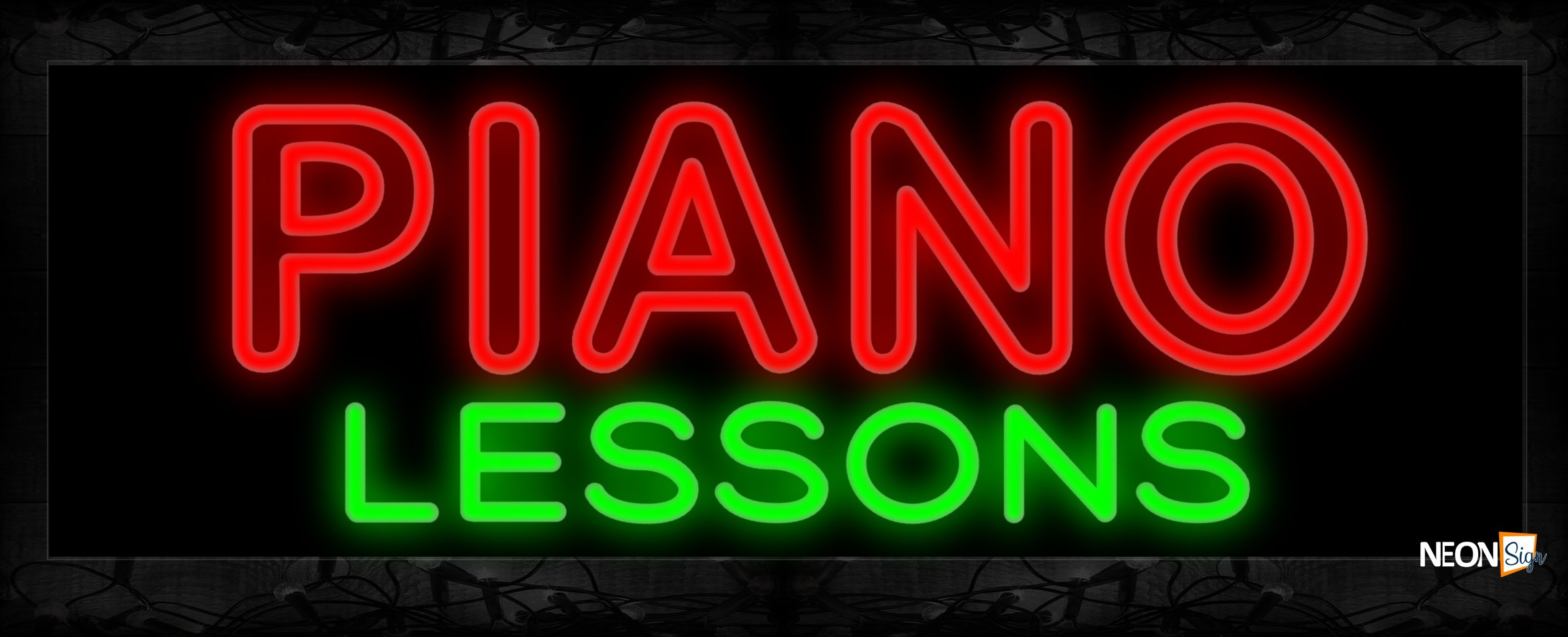 Image of 11462 Double stroke PIANO Lessons Neon Sign 13x32 Black Backing