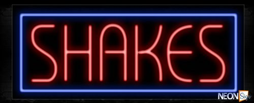 Image of 11474 Shakes with border Neon Sign_13x32 Black Backing