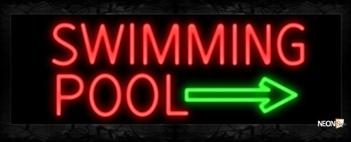 Image of 11482 Swimming Pool in red with green arrow Neon Sign 13x32 Black Backing