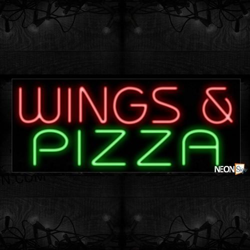 Image of 11506 Wings & Pizza Neon Sign 13x32 Black Backing