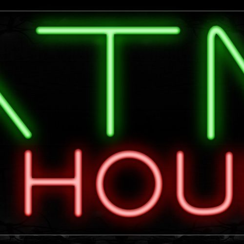 Image of 11508 atm 24 hours with border led bulb neon sign_13x32 Black Backing