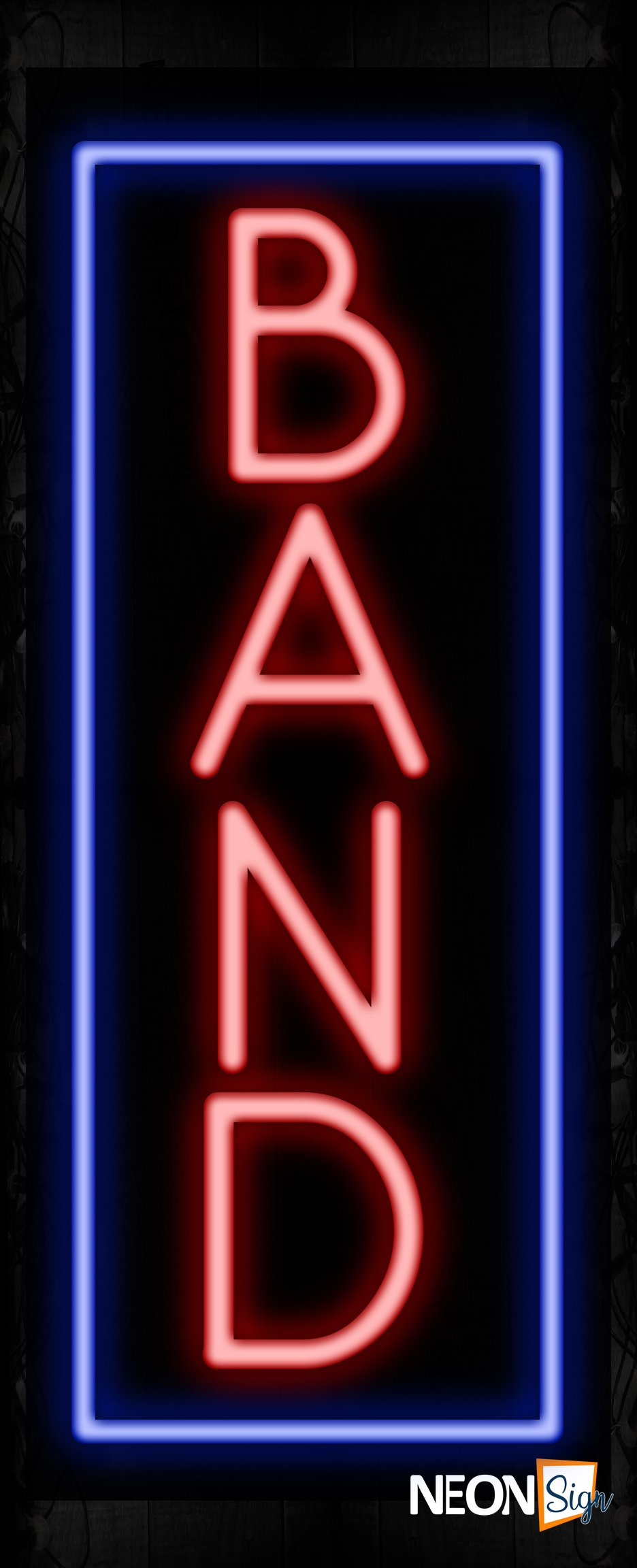 Image of 11518 Band in red with blue border (Vertical) Neon Sign_32 x12 Black Backing