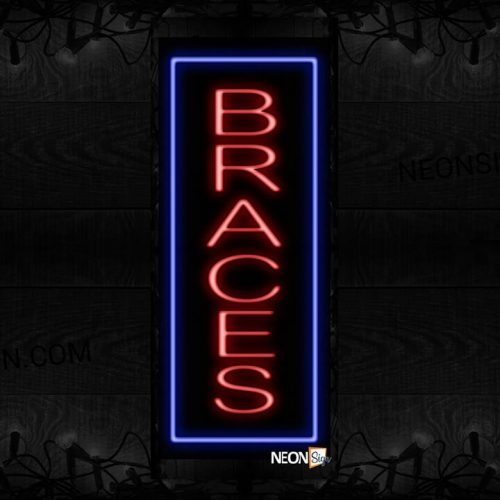 Image of 11524 Braces in red with blue border (Vertical) Neon Sign_32 x12 Black Backing