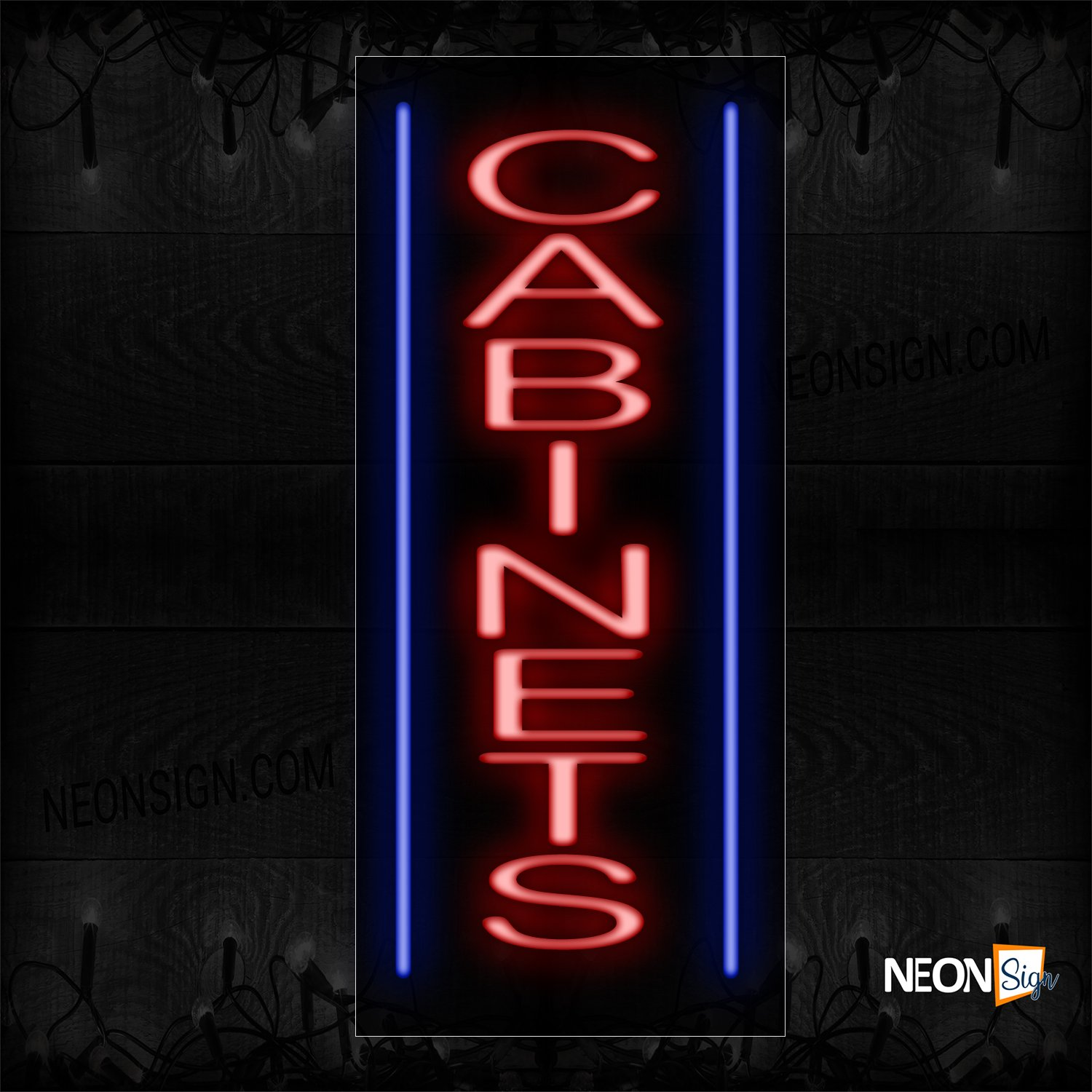 Image of 11528 Cabinets With Border Neon Sign_13x32 Black Backing