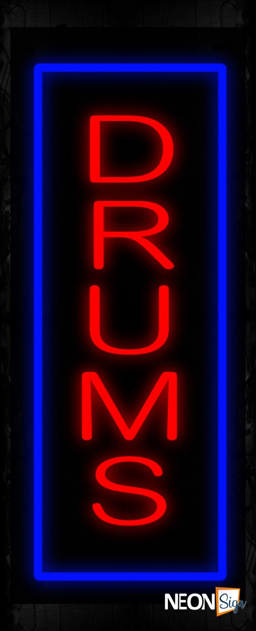 Image of 11544 Drums in red with blue border (Vertical) Neon Sign_ 32x12 Black Backing