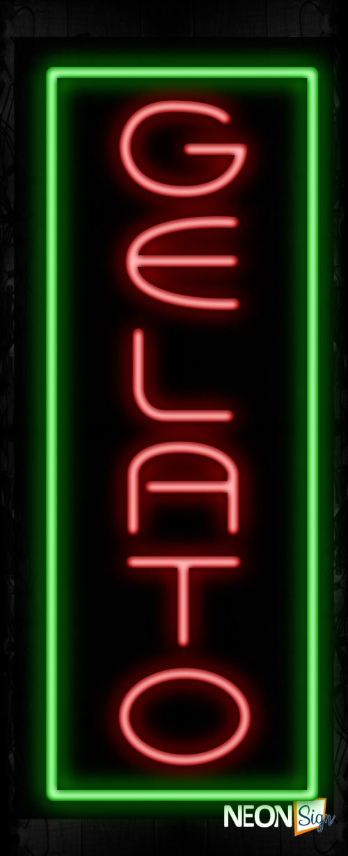 Image of 11560 Gelato with green border (Vertical) Neon Sign_ 32x12 Black Backing