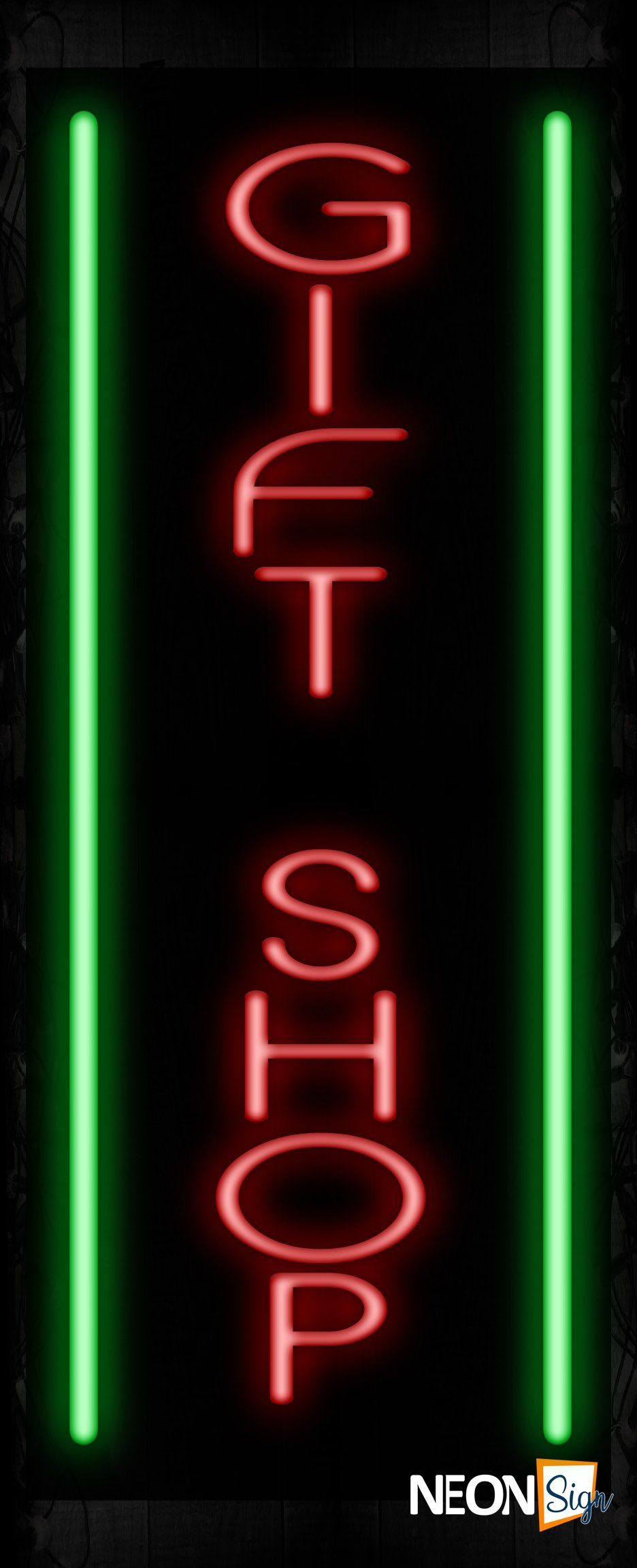 Image of 11561 Gift Shop with vertical border Neon Sign_32 x12 Black Backing