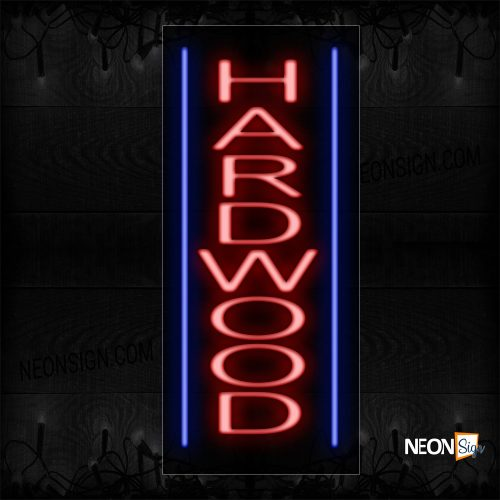 Image of 11569 Hardwood In Red With Blue Line (Vertical) Neon Sign_13x32 Black Backing