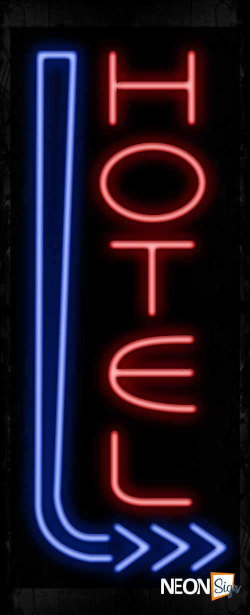 Image of 11576 Hotel with blue arrow Neon Sign_ 32x12 Black Backing