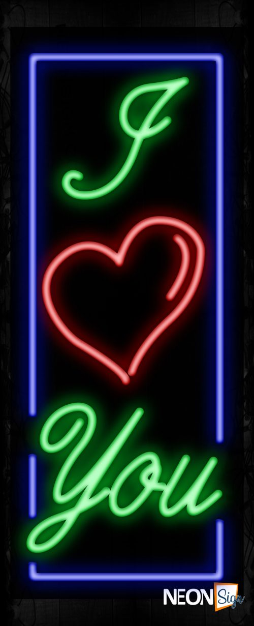 Image of 11577 I heart you with border Neon Signs_32 x12 Black Backing