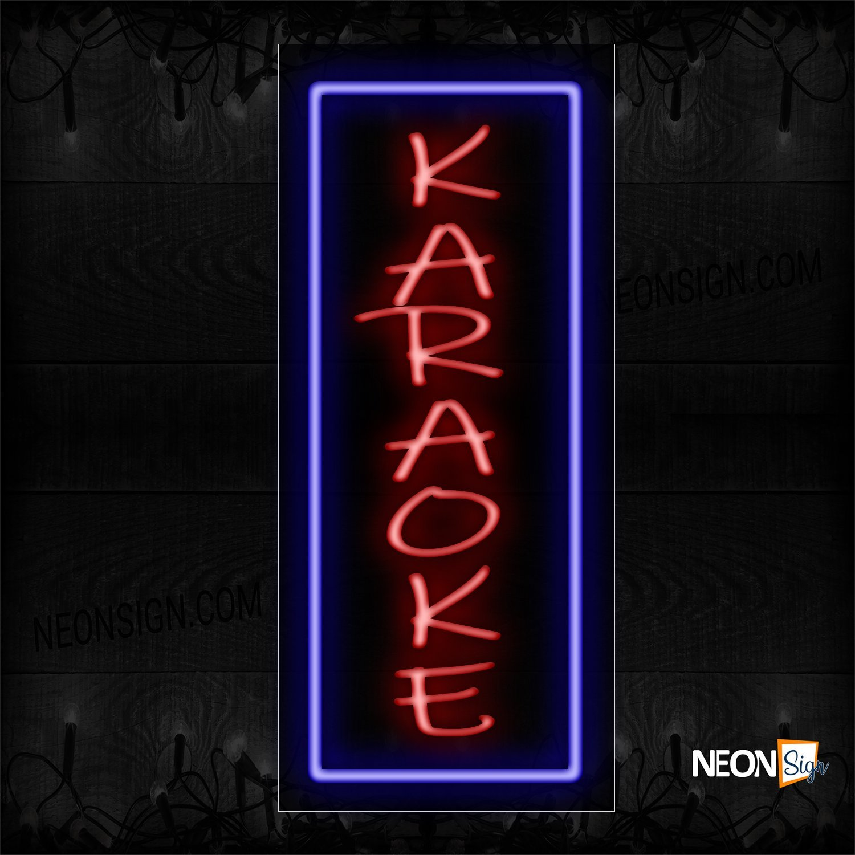 Image of 11582 Karaoke With Blue Border Vertical Neon Sign_13x32 Black Backing