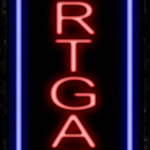 Image of 11592 Mortgage in red with blue border (Vertical) Neon Signs_32 x12 Black Backing