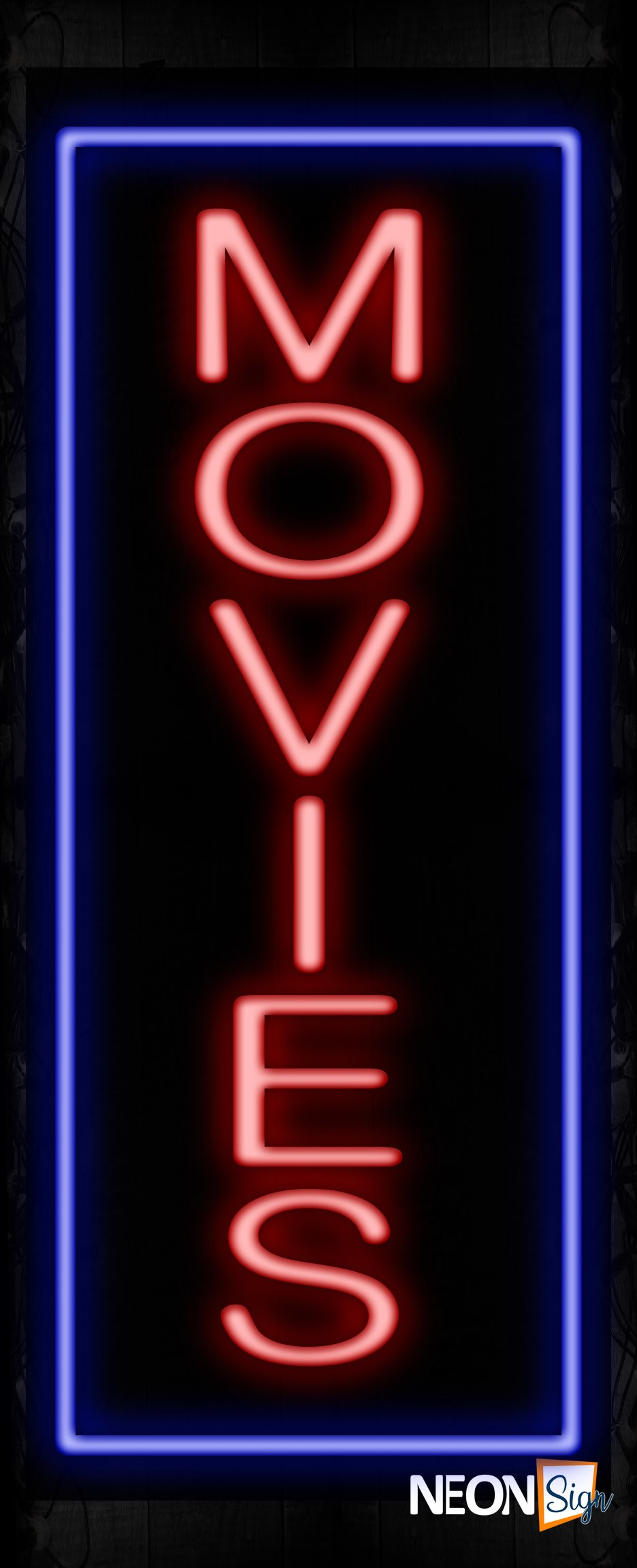Image of 11594 Movies with border Neon Signs_32 x12 Black Backing