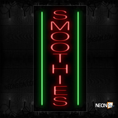 Image of 11624 Smoothies In Red With Green Border (Vertical) Neon Signs_13x32 Black Backing