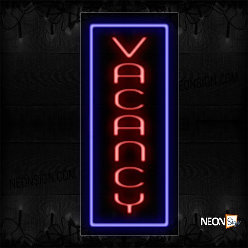 Image of 11642 Vacancy In Red With Blue Border (Vertical) Neon Sign_13x32 Black Backing