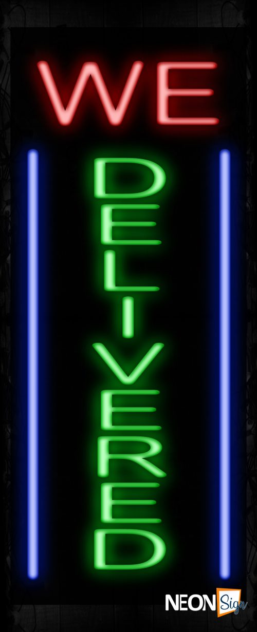 Image of 11643 We Deliver with blue lines (Vertical) Neon Sign_32 x12 Black Backing