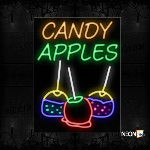 Image of 11670 Candy Apples With Lollipop Neon Signs_24x31 Black Backing