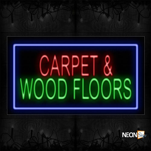 Image of 11672 Carpet & Wood Floor With Blue Border Neon Sign_20x37 Black Backing