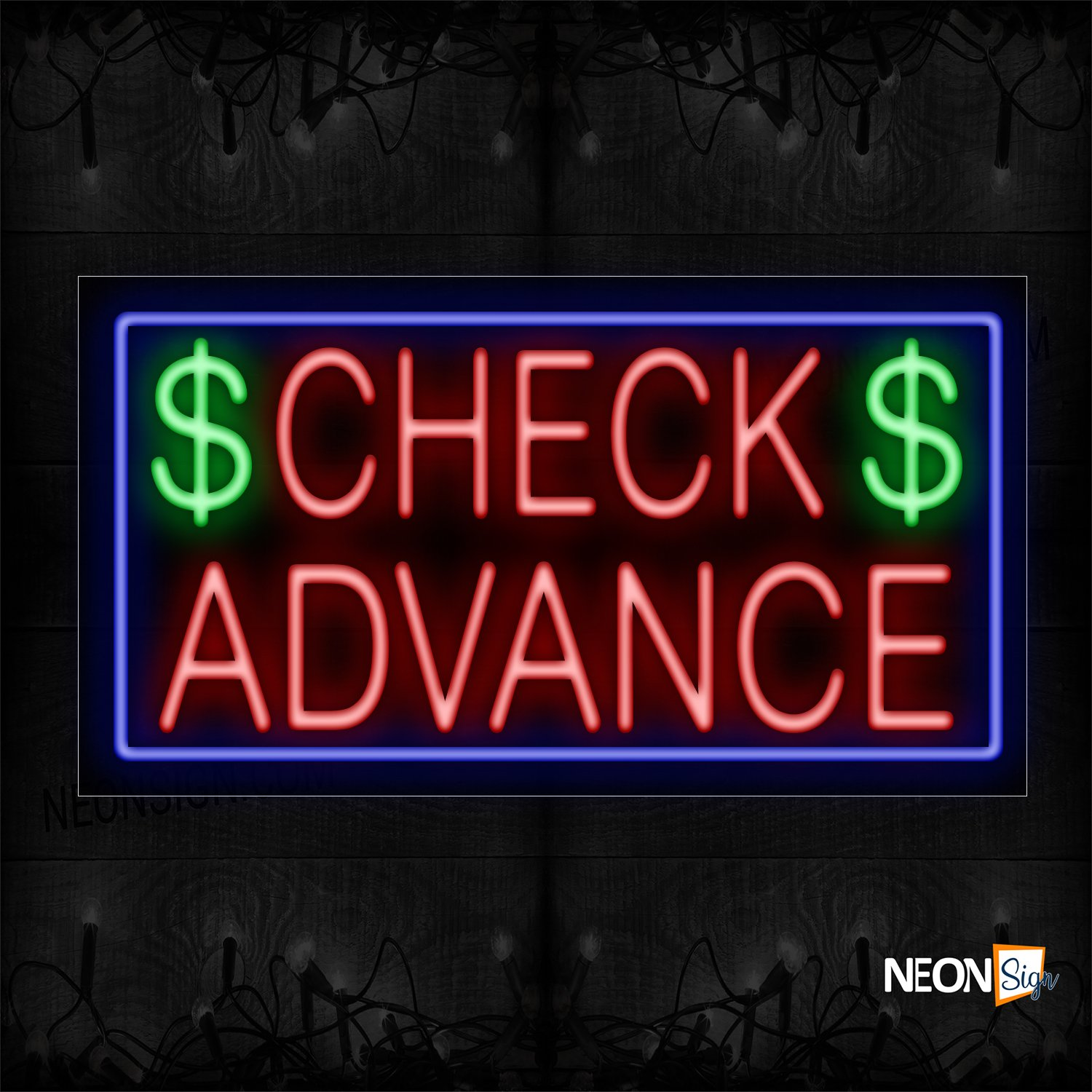 Image of 11674 $ Check $ Advance In Red With Blue Border Neon Sign_20x37 Black Backing