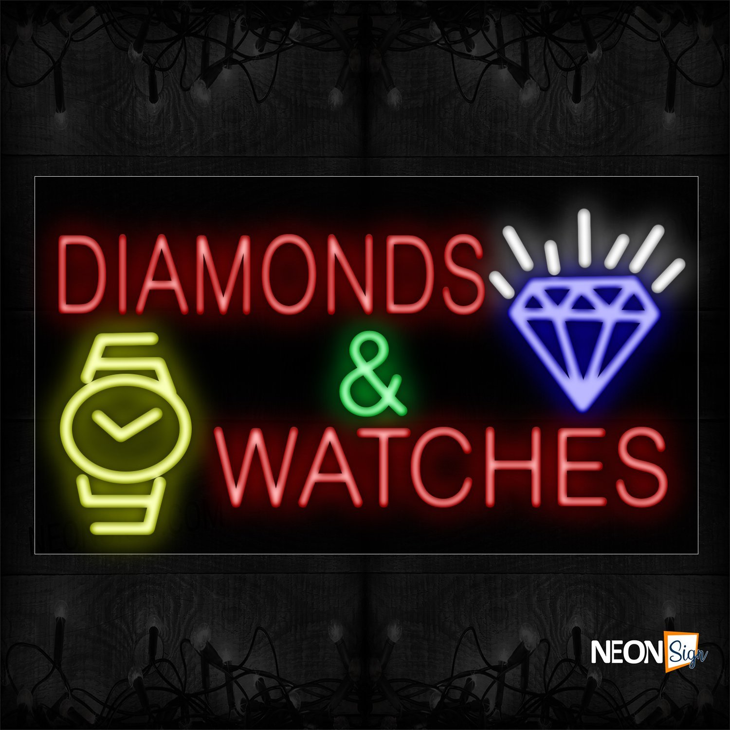 Image of 11689 Diamonds & Watches With Logo Neon Sign_20x37 Black Backing