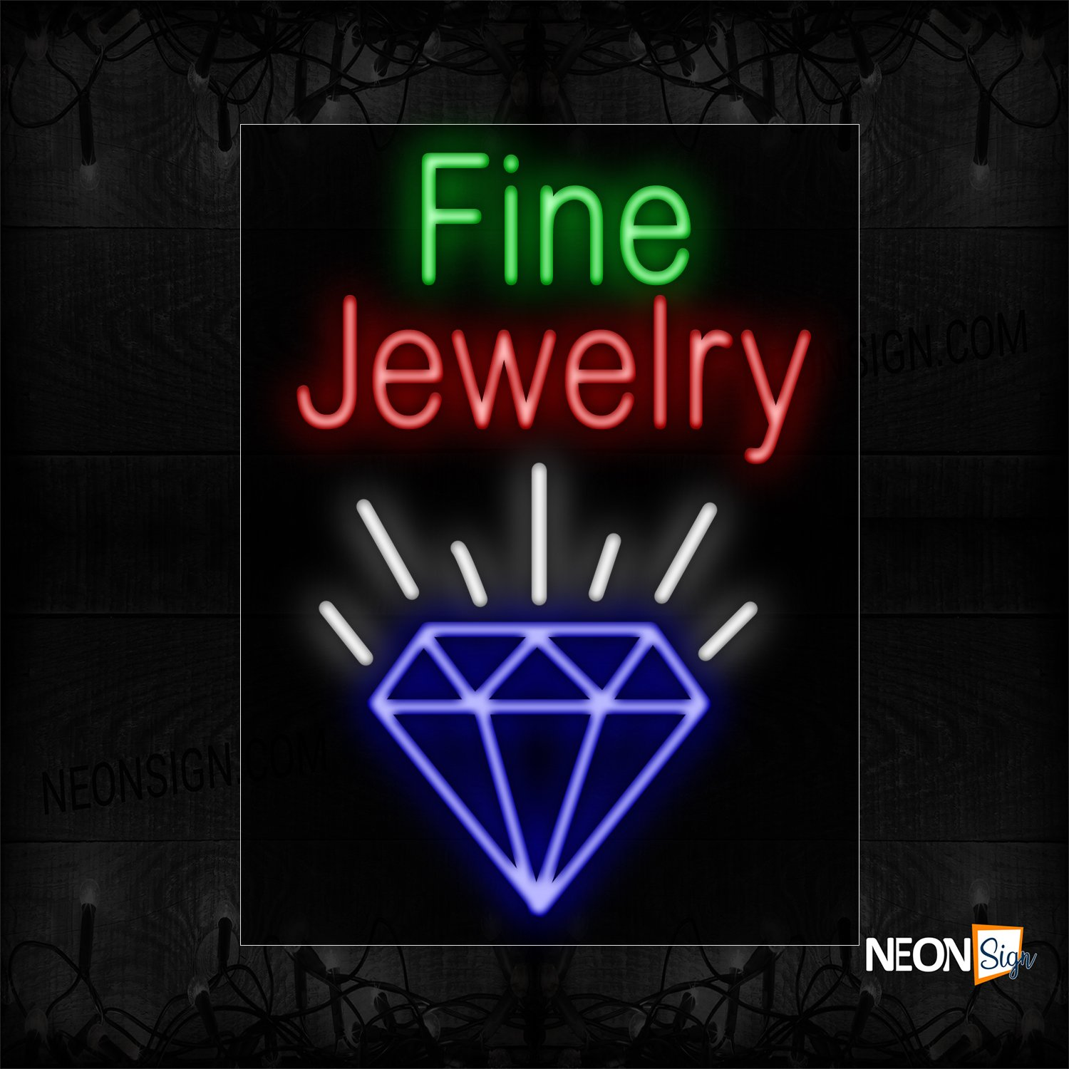 Image of 11701 Fine Jewelry And Logo Neon Sign_24x31 Black Backing