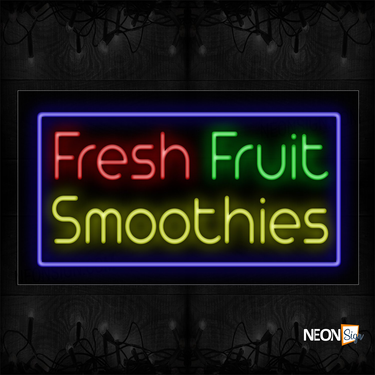 Image of 11709 Fresh Fruit Smoothies With Blue Border Neon Signs_20x37 Black Backing
