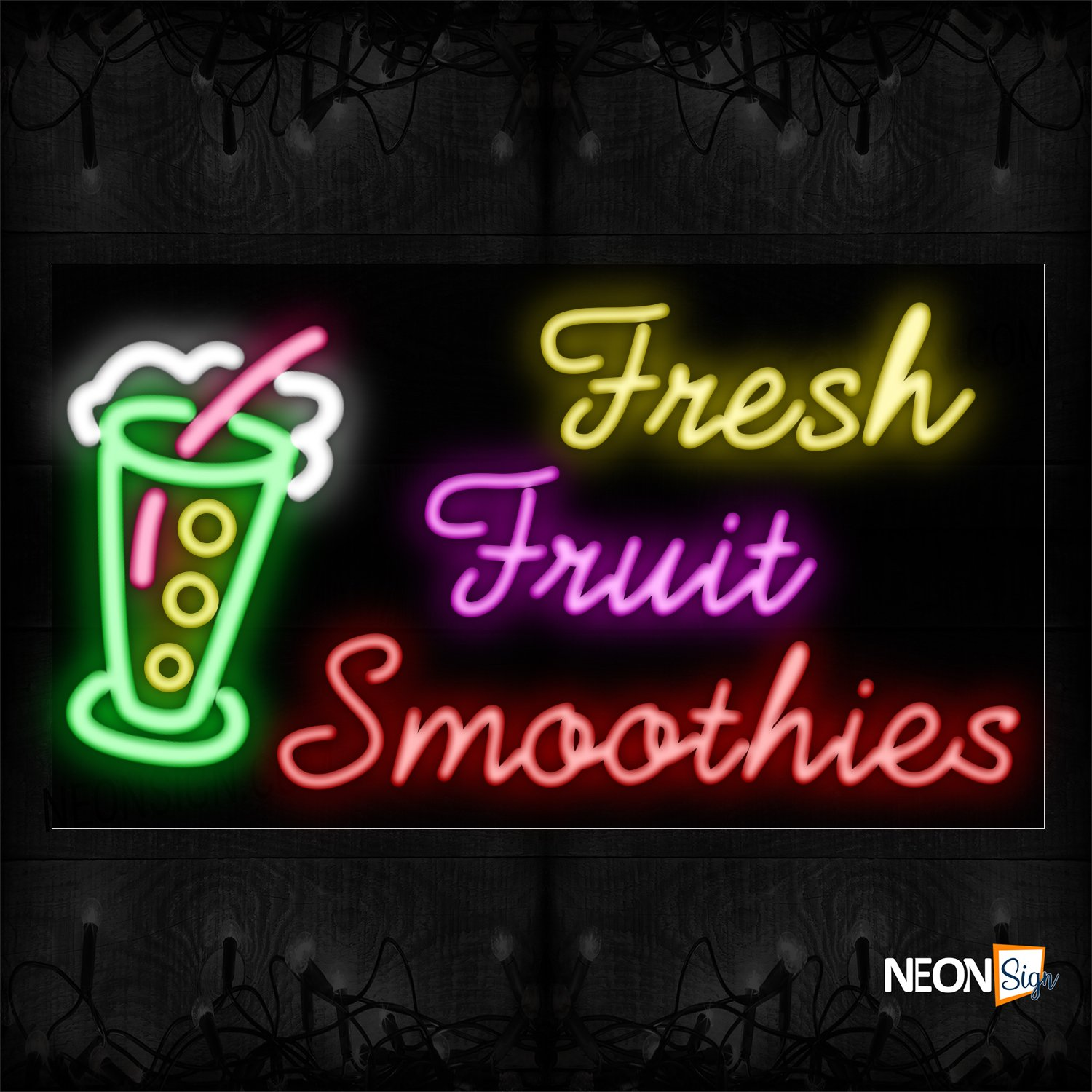 Image of 11710 Fresh Fruit Smoothies With Logo Neon Signs_20x37 Black Backing