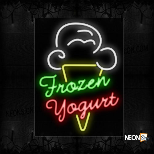 Image of 11715 Frozen Yogurt With ice cream Logo Neon Signs_24x31 Black Backing
