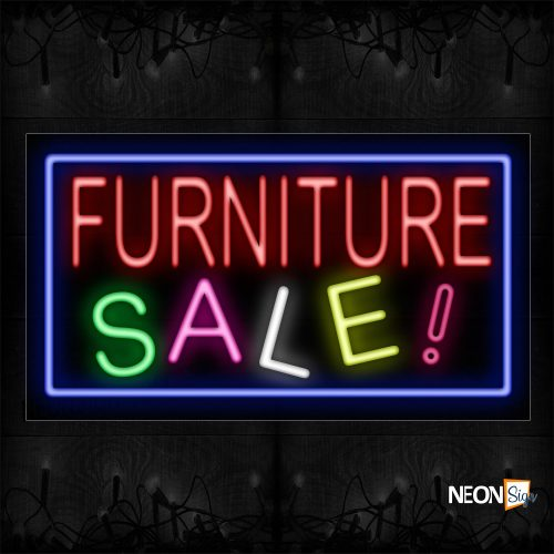Image of 11716 Furniture Sale! With Blue Border Neon Sign_20x37 Black Backing