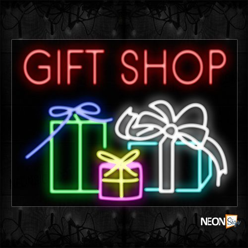 Image of 11718 Gift Shop With Gift Boxes Neon Sign_17x30 Black Backing