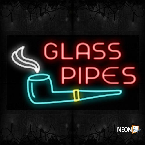 Image of 11719 Glass Pipes With Logo Neon Sign_20x37 Black Backing