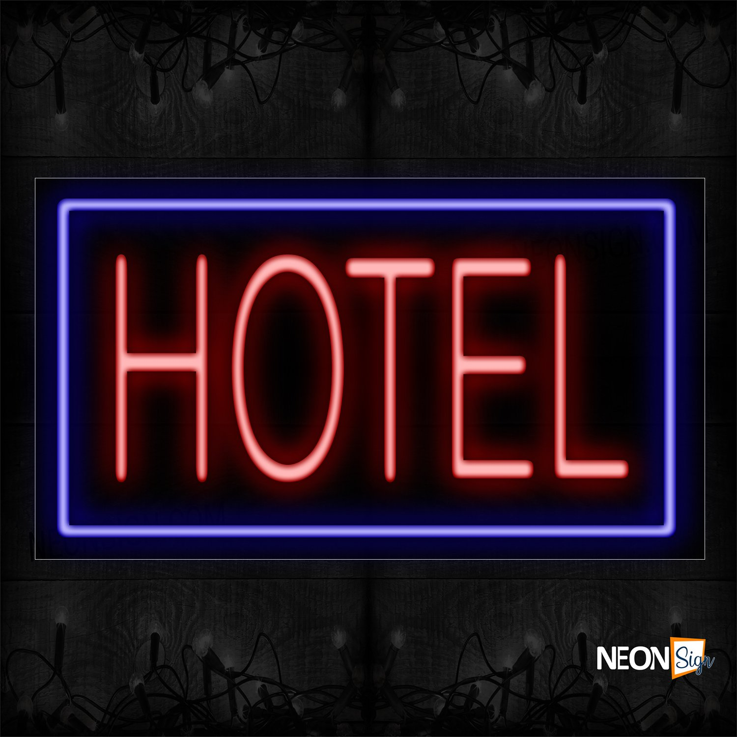 Image of 11734 Hotel in Red Neon Sign_20x37 Black Backing