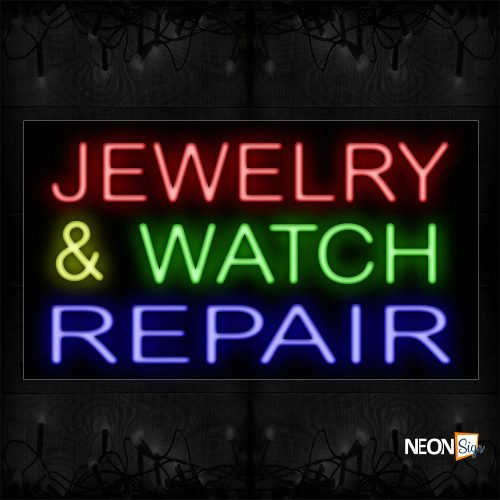 Image of 11736 Jewelry & Watch Repair Neon Sign_20x37 Black Backing